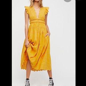 Free people S mustard long dress - flawed